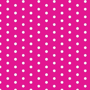 Hexi Swiss Dots White on Fuchsia
