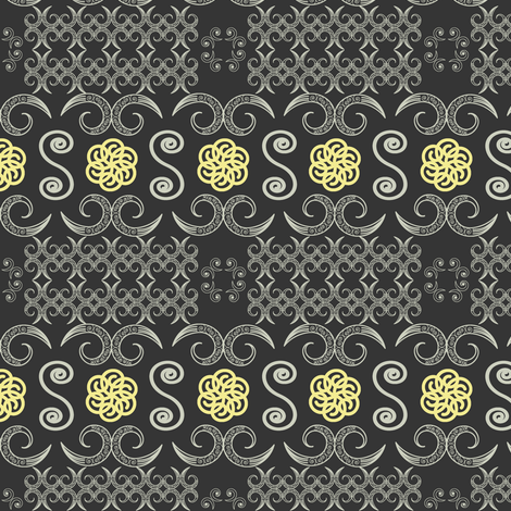 Tribal Banner in Charcoal Gray fabric by fridabarlow on Spoonflower - custom fabric