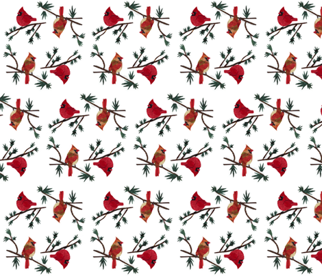 Mr and Mrs Cardinal fabric by pmegio on Spoonflower - custom fabric