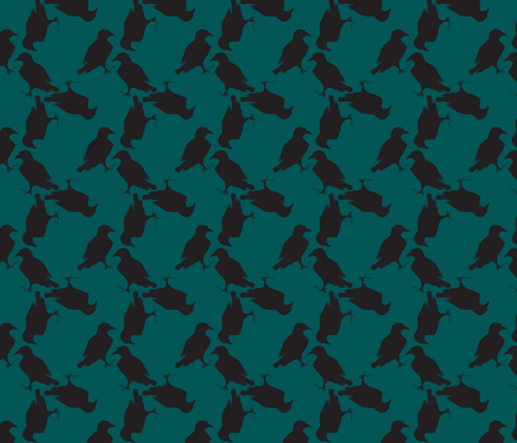 raven teal fabric by trollop on Spoonflower - custom fabric