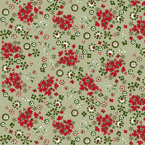 ditsy  flora / vintage christmas fabric by paragonstudios on Spoonflower - custom fabric