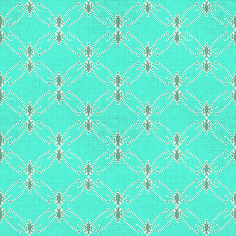 Turquoise Mod Floral Coordinate fabric by joanmclemore on Spoonflower - custom fabric