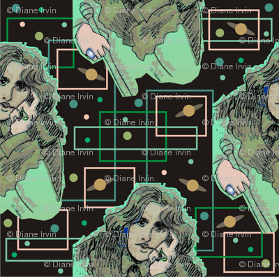 Oscar Wilde in Greens with Planetary Circuitboard