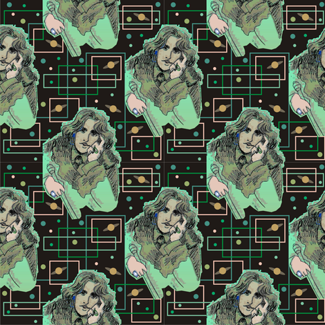 Oscar Wilde in Greens with Planetary Circuitboard fabric by 3catsgraphics on Spoonflower - custom fabric