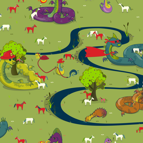 Here be Dragons! fabric by candyjoyce on Spoonflower - custom fabric