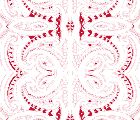 Tribal Koru red and white fabric by flyingfish on Spoonflower - custom fabric
