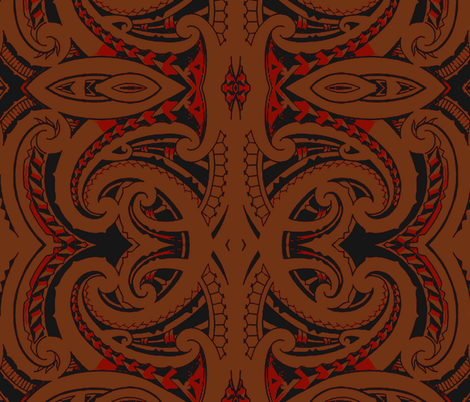 Tribal Koru Tapa fabric by flyingfish on Spoonflower - custom fabric