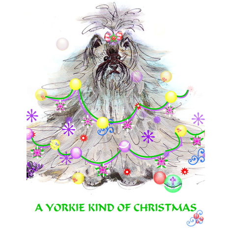 YORKIE KIND OF CHRISTMAS  SWATCH fabric by kaylah-marie on Spoonflower - custom fabric