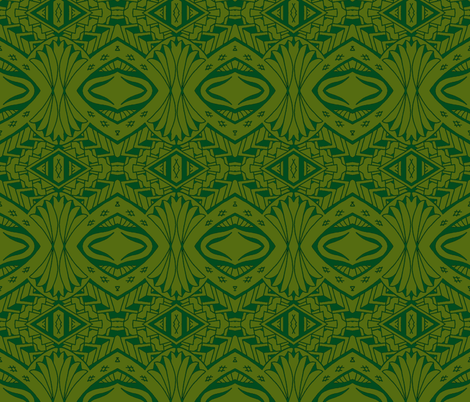 Tiki Tribal Jungle green fabric by flyingfish on Spoonflower - custom fabric