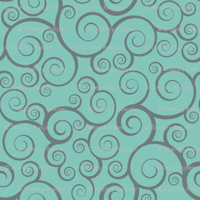 Fancy Swirls - Teal