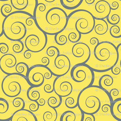 Fancy Swirls - Yellow