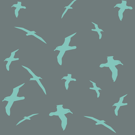 Albatross Flight Teal fabric by smuk on Spoonflower - custom fabric