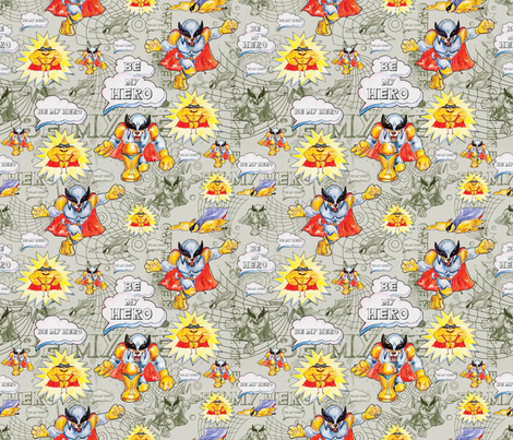 Be my hero fabric by milenagaytandzhieva on Spoonflower - custom fabric