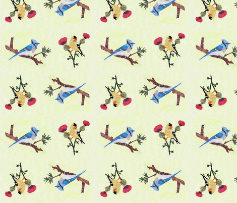 Gold Finch and Blue Jay fabric by pmegio on Spoonflower - custom fabric