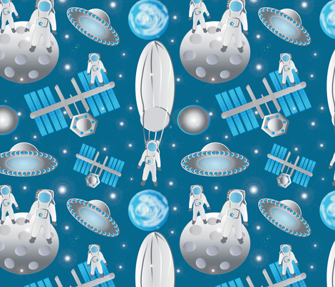 Spacemen featuring Fearless Felix 2 fabric by kociara on Spoonflower - custom fabric
