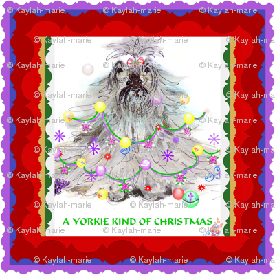 YORKIE kind of Christmas  Framed red/purple  ORDER