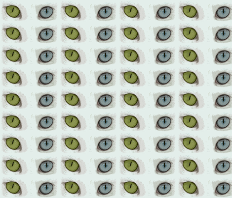 Odd-eyed Cat fabric by technorican on Spoonflower - custom fabric