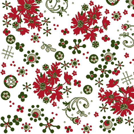 Christmas flora / white fabric by paragonstudios on Spoonflower - custom fabric