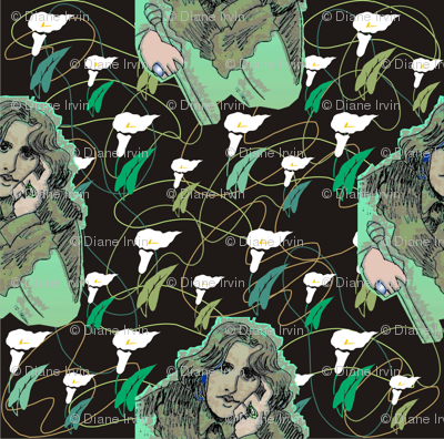 Oscar Wilde in Greens with Organic Shapes & Lilies