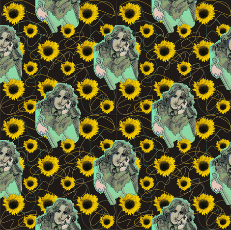 Oscar Wilde in Greens with Organic Shapes & Sunflowers fabric by 3catsgraphics on Spoonflower - custom fabric