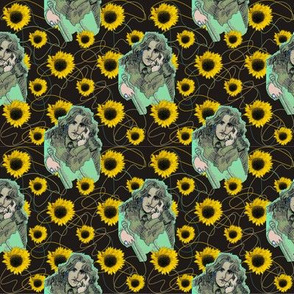 Oscar Wilde in Greens with Organic Shapes & Sunflowers
