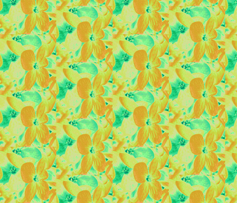 Lucile's hydrangeas - yellow & green #1 fabric by technorican on Spoonflower - custom fabric