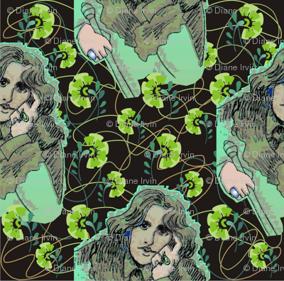Oscar Wilde in Greens with Organic Shapes & Green Carnations