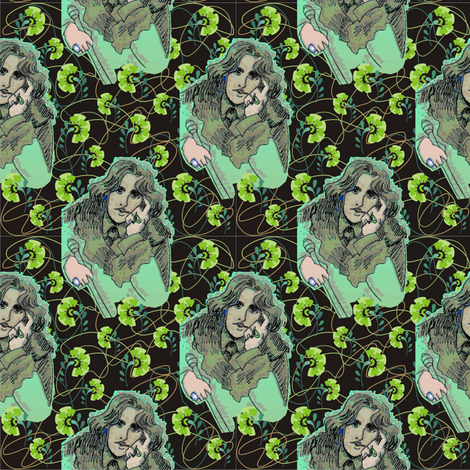 Oscar Wilde in Greens with Organic Shapes & Green Carnations fabric by 3catsgraphics on Spoonflower - custom fabric