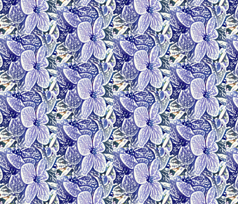 Lucile's hydrangeas - lavender white edge fabric by technorican on Spoonflower - custom fabric
