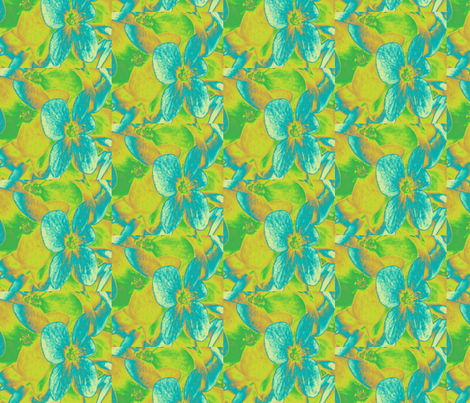 Lucile's hydrangeas - yellow & green #2 fabric by technorican on Spoonflower - custom fabric
