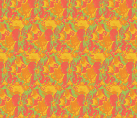 Lucile's hydrangeas - yellow & orange #2 fabric by technorican on Spoonflower - custom fabric