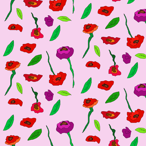 poppies2offsetadded fabric by colorfulartgirl on Spoonflower - custom fabric