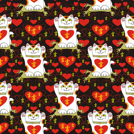 I Heart Being Lucky in Black fabric by 3catsgraphics on Spoonflower - custom fabric