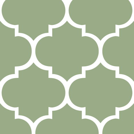 Fancy Lattice Sage Green with White