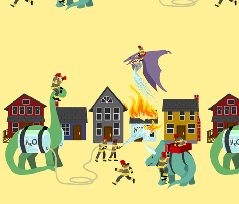 The Dinosaur and Firefighter Brigade fabric by ninniku on Spoonflower - custom fabric