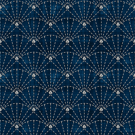 Sashiko: Uchiwa - Fans fabric by bonnie_phantasm on Spoonflower - custom fabric