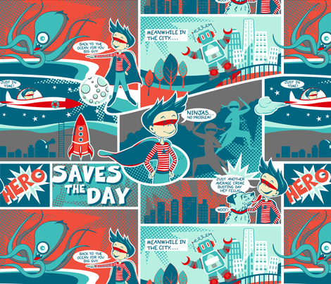 Hero saves the day fabric by cjldesigns on Spoonflower - custom fabric