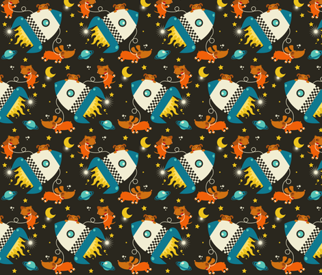 Dogs in space fabric verycherry spoonflower for Space pattern fabric
