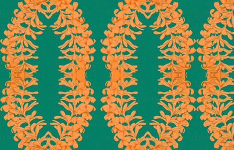 Puakinikini yellow-orange Lei, tiare flower fabric by waiomaotiki on Spoonflower - custom fabric