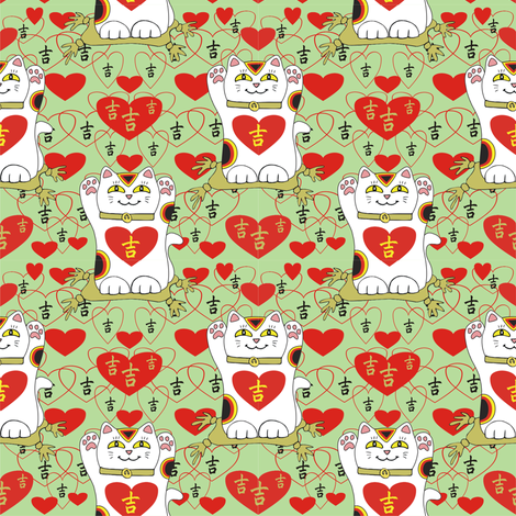 I Heart Being Lucky in Mint fabric by 3catsgraphics on Spoonflower - custom fabric