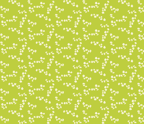 White plum blossom on green fabric by oceanpien on Spoonflower - custom fabric