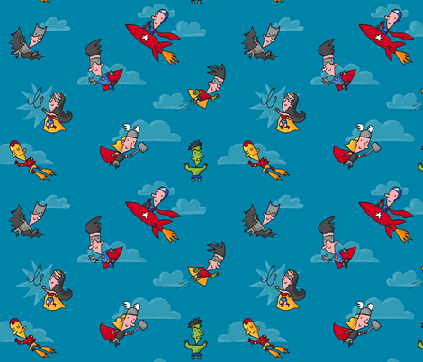 Superheroes_do_come_in_handy fabric by alexandra_pillaert on Spoonflower - custom fabric