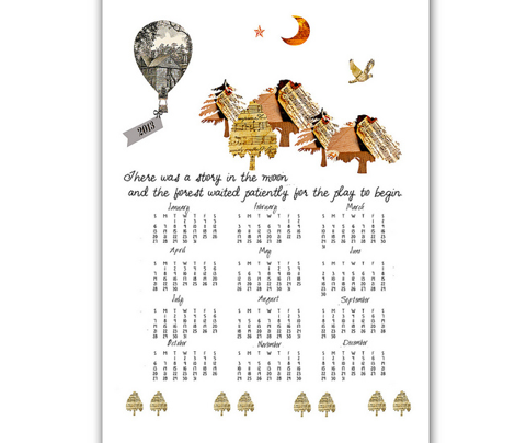 2013 Calendar Tea Towel, Little Women Cotton Linen Canvas