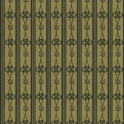 Diamond Stripe - rich olive green with dark green stripes