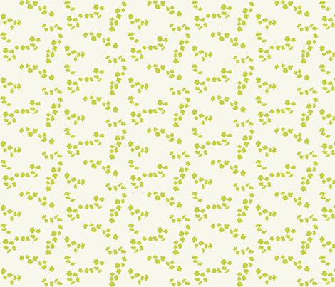 Green plum blossom on white fabric by oceanpien on Spoonflower - custom fabric
