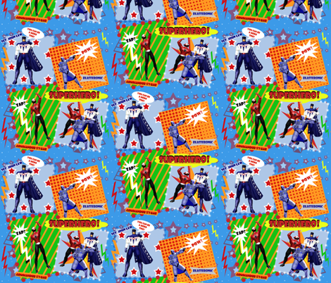 ZAM! BAM! POW! NEW SUPERHEROES IN TOWN! fabric by arttreedesigns on Spoonflower - custom fabric