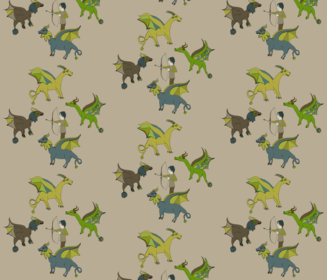 Kiyoshi_vs_dragons fabric by nelyram on Spoonflower - custom fabric