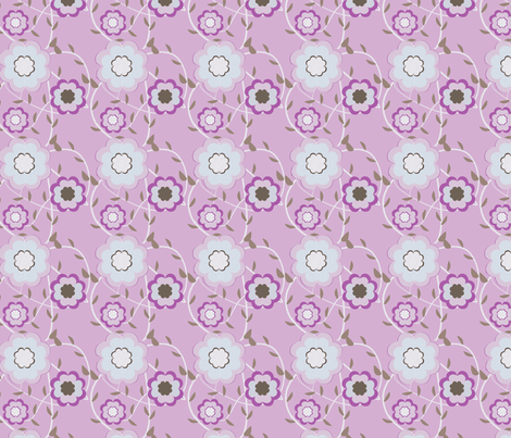 Heartflowers-purple fabric by msnina on Spoonflower - custom fabric