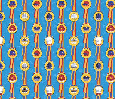 My Dad, My Hero! - in stratosphere blue fabric by hootenannit on Spoonflower - custom fabric