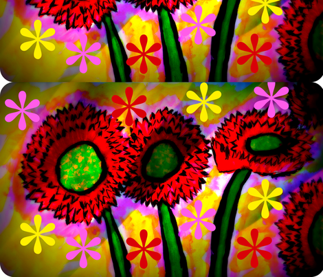 Red Sunflower Dipped in Pink With Paisleys fabric by handmade_dreams on Spoonflower - custom fabric